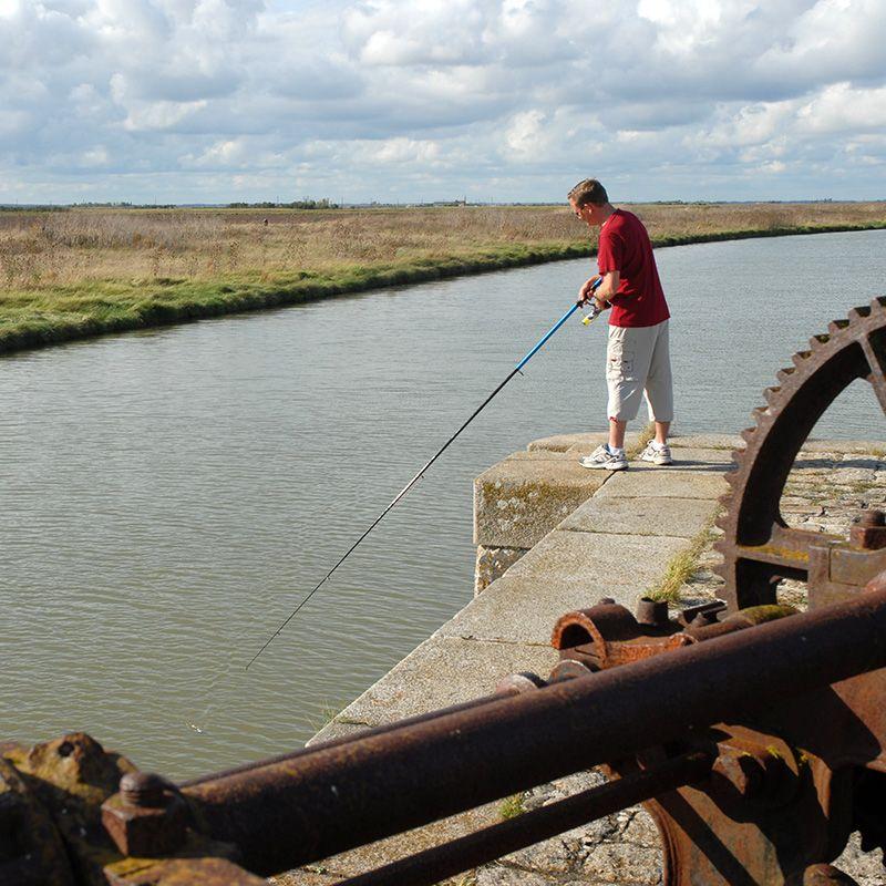 Pêcheur sur un ouvrage hydraulique du Marais poitevin