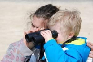 Enfant avec des jumelles observant les oiseaux