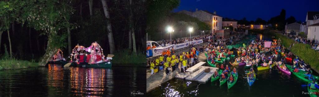 Le Rallye du Marais, manifestation nocturne de canoe-kayak dans le Marais poitevin