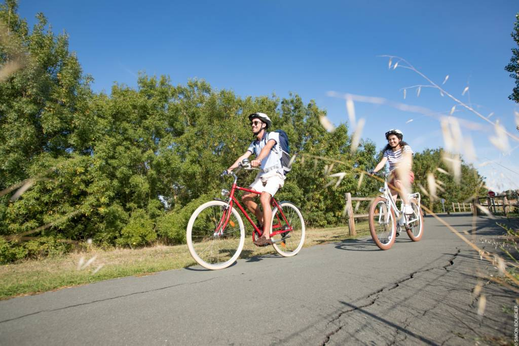 Promenade à vélo entre amis dans le Marais poitevin